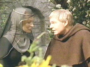 The widow Perle talks with Brother Cadfael